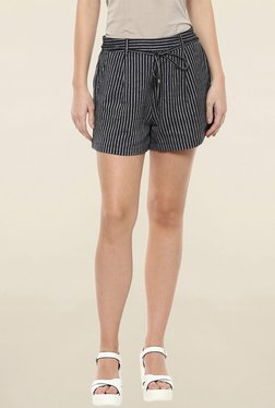 109 F Black Striped Shorts