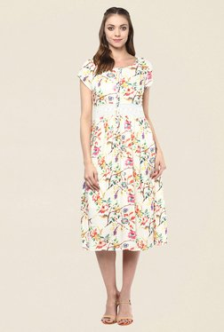 Fusion Beats Cream Floral Print Dress