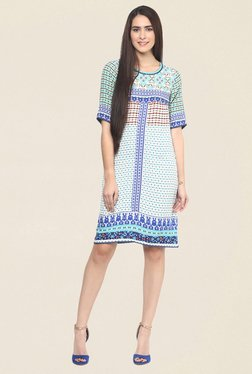 Fusion Beats Blue Printed Dress