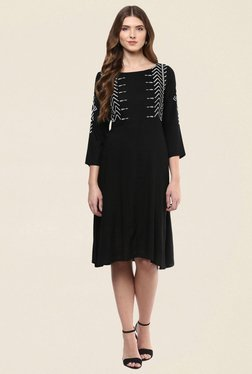 Fusion Beats Black Embroidered Dress