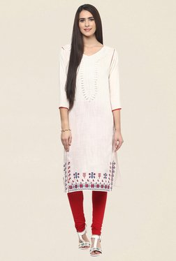 Fusion Beats Off White Embroidered Kurta