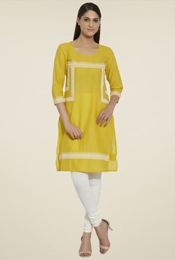 Globus Yellow 3/4th Sleeves Cotton Kurta