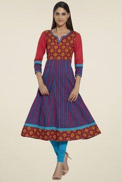 Globus Red & Purple 3/4th Sleeves Anarkali Kurta