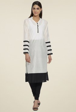 Globus Off-White & Black Regular Fit Kurta