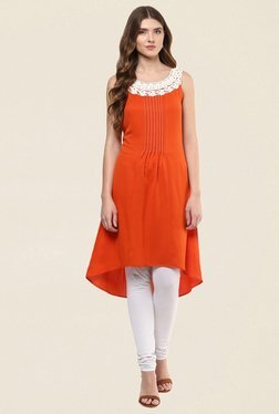 Fusion Beats Orange Solid Kurti