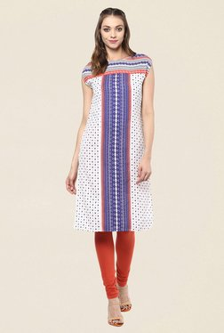 Fusion Beats Off White Printed Kurti