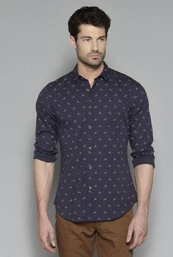Westsport By Westside Navy Printed Slim Fit Shirt