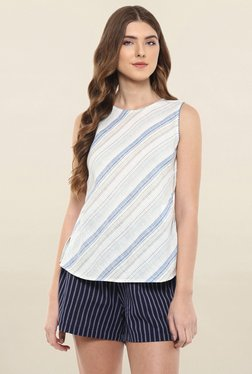 109 F White Striped Top