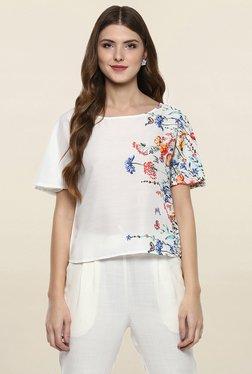 109 F White Floral Print Top