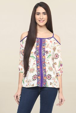 Fusion Beats Off White & Purple Floral Print Top