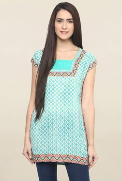 Fusion Beats Turquoise Printed Tunic