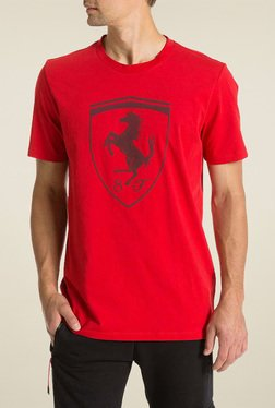 Puma Red Round Neck Cotton TShirt