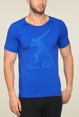 Puma Blue Regular Fit Printed TShirt