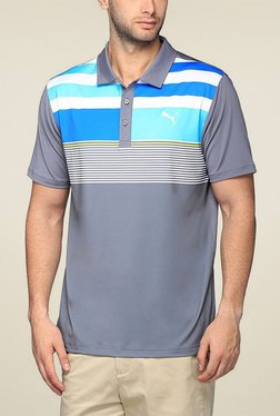 Puma Grey Striped Regular Fit Polo TShirt