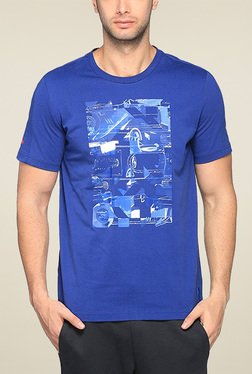 Puma Royal Blue Round Neck Printed TShirt