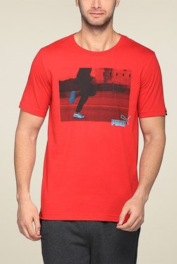 Puma Red Round Neck Printed TShirt