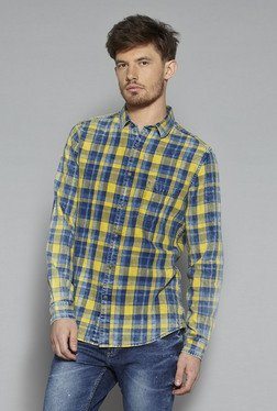 Nuon By Westside Yellow & Blue Slim Fit Shirt