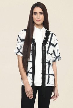 Fusion Beats Off White Printed Shrug