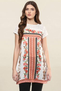 Fusion Beats White & Orange Floral Print Tunic
