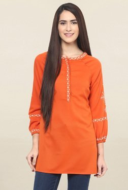 Fusion Beats Orange Embroidered Tunic