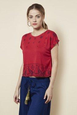 Zudio Red Printed Slim Fit Crop Top