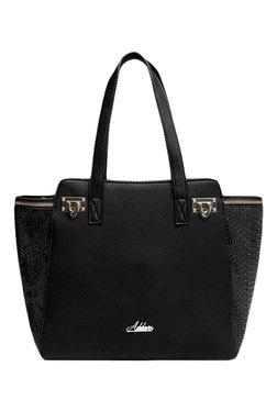 Addons Black Snake Skin Textured Shoulder Bag