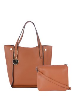 Fur Jaden Tan Small Tote With Pouch