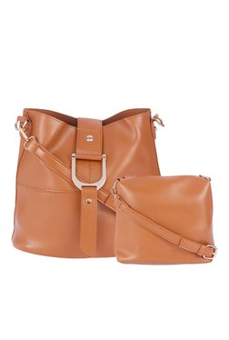 Fur Jaden Tan Panelled Sling Bag With Pouch