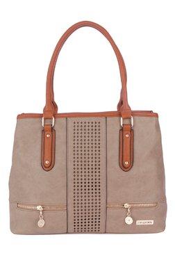 Fur Jaden Light Brown Laser Cut Shoulder Bag