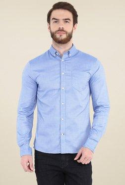 Celio* Blue Printed Slim Fit Shirt