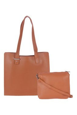 Fur Jaden Tan Solid Tote With Pouch