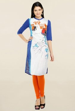 Aurelia White & Blue Printed Kurti