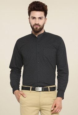 Hancock Black Printed Slim Fit Cotton Shirt