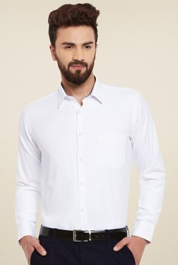 95588f0e47f Hancock White Solid Slim Fit Formal Shirt