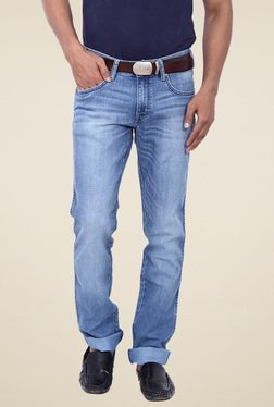 Wrangler Blue Slim Fit Low Rise Lightly Washed Jeans
