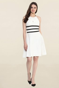 Miway Off White Halter Neck Dress