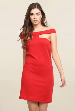 Miway Red Off Shoulder Dress