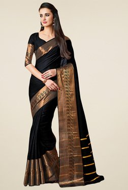 Salwar Studio Black Zari Saree With Blouse