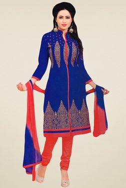 Salwar Studio Blue & Coral Red Embroidered Dress Material