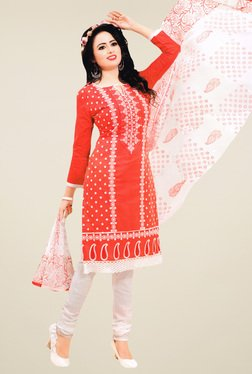 Salwar Studio Coral Red & White Embroidered Dress Material