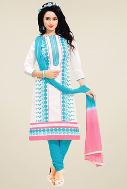 Salwar Studio White & Blue Embroidered Dress Material - Mp000000001313962