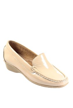 Pavers England Patent Beige Wedge Heeled Loafers