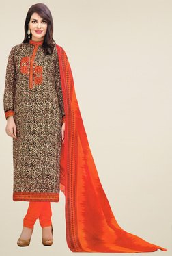 Salwar Studio Brown & Orange Cotton Printed Dress Material