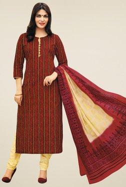 Salwar Studio Brown & Cream Cotton Printed Dress Material