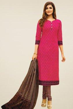 Salwar Studio Pink & Brown Cotton Printed Dress Material