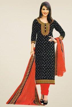 Salwar Studio Black & Orange Cotton Printed Dress Material