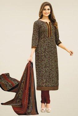Salwar Studio Brown Cotton Printed Dress Material