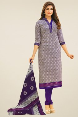 Salwar Studio Grey & Purple Cotton Printed Dress Material