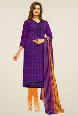 Salwar Studio Purple & Yellow Cotton Printed Dress Material
