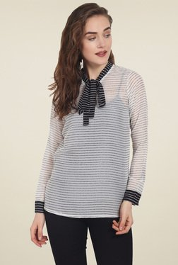 Soie Off-White Striped Full Sleeves Top